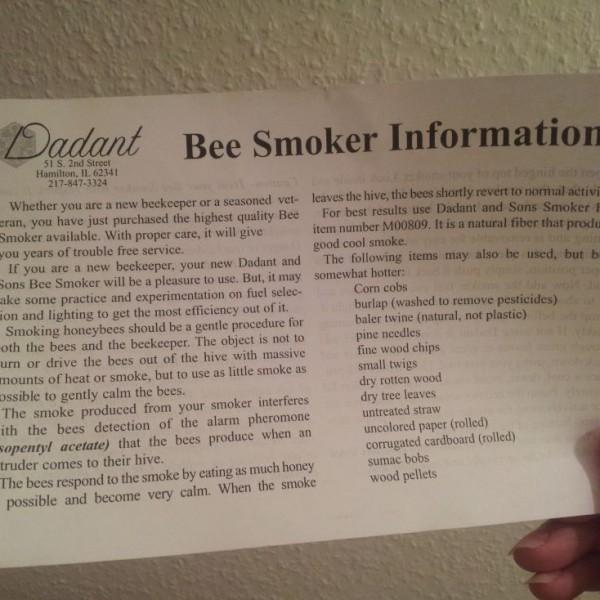 Beipackzettel zum Dadant Smoker, Vorderseite