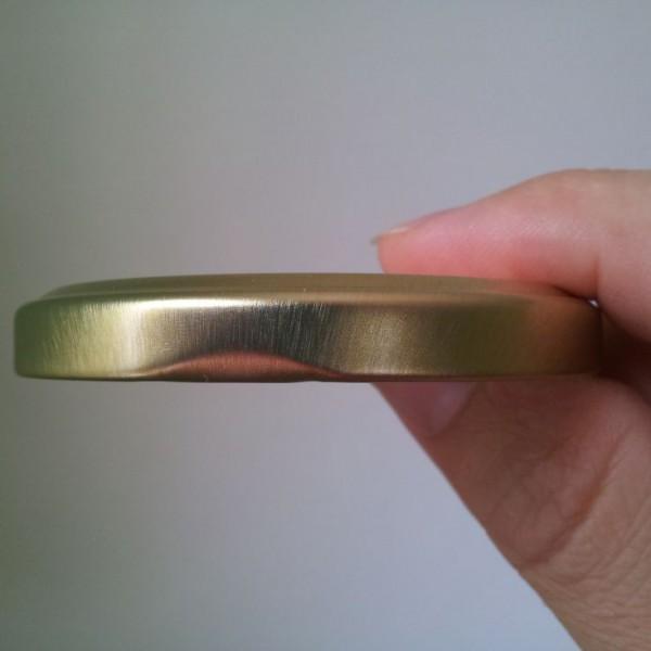 Seitensicht Golddeckel zu Honigglas 250 g