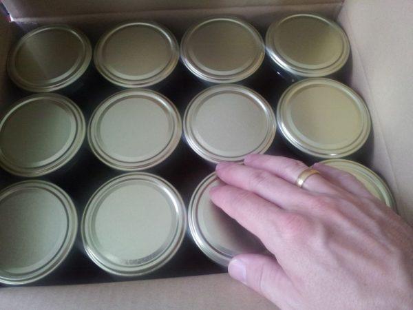 500 g Golddeckel Honiggläser á 12 Stück im Karton