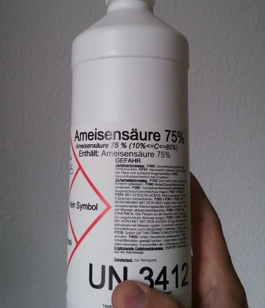 Ameisensäure 75ige eignet sich bspw. für die Reinigung oder Desinfizierung