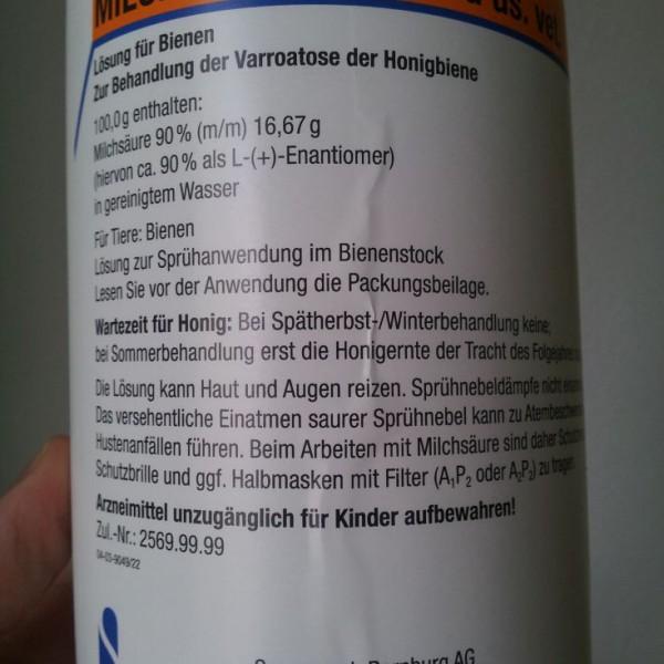 Milchsäure Detailanasicht 1l Flasche